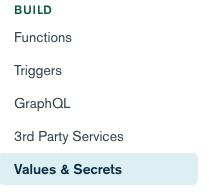 Values & Secrets Menu