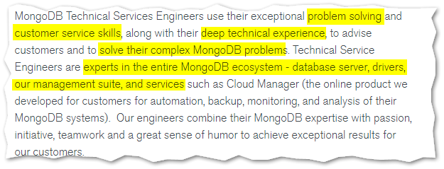 Image of excerpt from Technical Services Engineer job posting