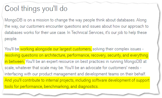 Image of excerpt from Technical Services Engineer job posting: section titled Cool things you'll do